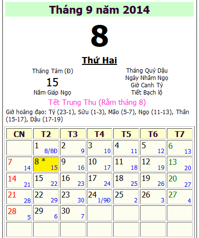 Tết trung thu 2014 ngày mấy dương lịch ?